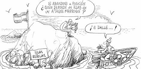 """""""Jeśli opuszczę stanowisko, kto obroni wyspy przed marokańskim najazdem""""? Rysunek satyryczny w hiszpańskiej prasie."""