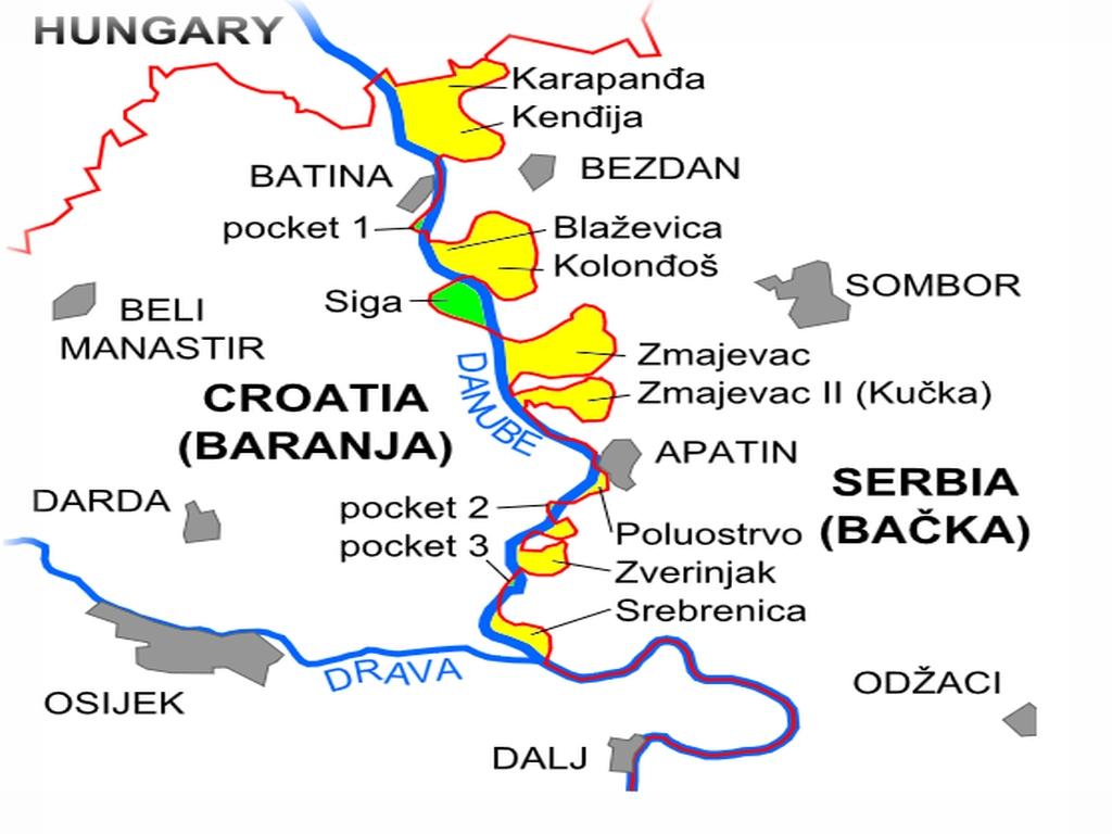 Terytoria sporne pomiędzy Serbią a Chorwacją lub o nieustalonym dotąd statusie.