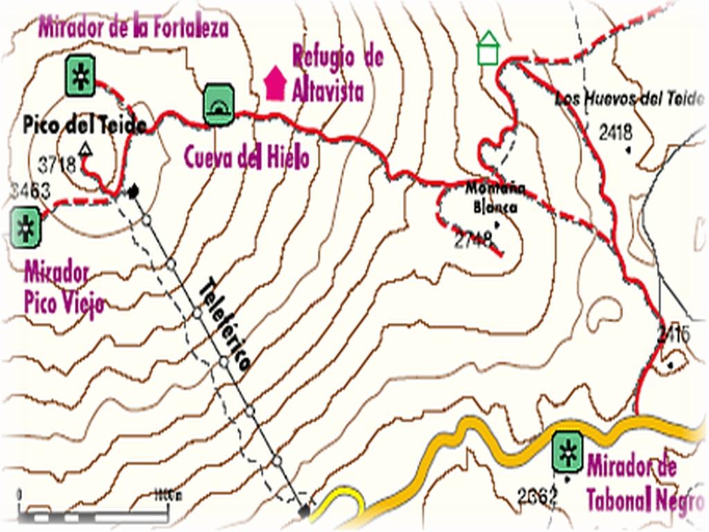 Mapa okolicy Pico del Teide, szlak przez Montana Blanca.